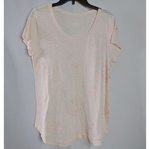 Lucky Brand Embroidered Pink Scoop Neck T Shirt L